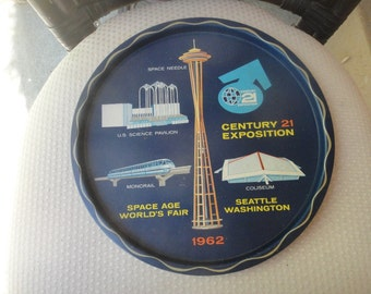1962 Century 21 Exposition Space Age Word's Fair, Seattle Washington metal serving tray