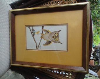 Vintage Animated owl and chick watercolor Monte