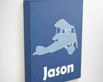 Airplane Canvas, Personalized Name Signs, Airplane Nursery Art, Personalized Kids Gift, Personalized Nursery Art, Christening Gifts For Boys