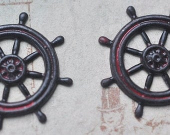 TWO Steampunk brass pirate ship wheels, Wicked Sassy Patina