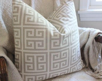 Soft Gray Pillow Cover, Throw Pillow, Greek Key Pillow Cover, Decorative Pillow, Accent Pillow, Cushion Cover