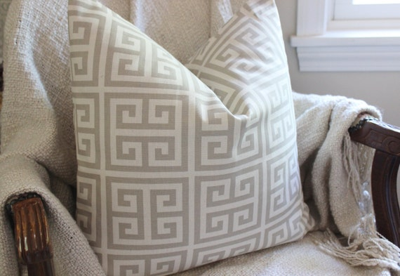 Soft Gray Pillow Cover Throw Pillow Greek Key Pillow Cover