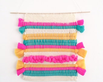 Weaving wall hanging roving colorful neon pink, turquoise, yellow, off white - One of a kind