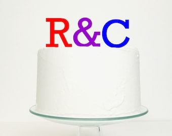 Wedding Cake Topper - Initials with Ampersand Cake Topper