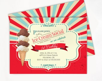 Ice Cream Invitation - Birthday Party Soda Shop Printable Invite