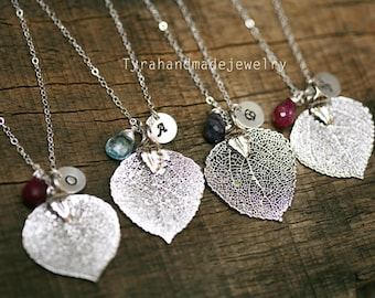 10% OFF,Set of 4,Aspen Leaf Necklace,Personalized,Fall Autumn wedding,Bridesmaid gifts,Wedding Jewelry,Bridal Jewelry,monogram