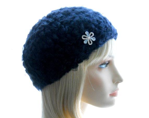 Black Fuzzy Hat, Rhinestone Flower Hat, Women's Vegan Hat, Crochet Hat, Medium to Large Size