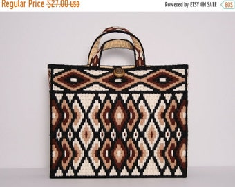 SALE 70s Brown & White Tote Bag / Knitting Bag