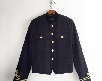 Vintage 80's Cropped Military Jacket / Black & Gold Denim Jacket S