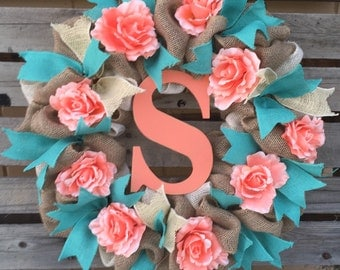 Burlap Wreath, Monogrammed Wreath, Initial Wreath, Spring Wreath, Coral Wreath, Turquoise Wreath, Flower Wreath, Door Hanger, Housewarming