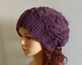 Unisex PLUM slouchy beanie hat Slouch Beanie Large hat - chunky hat Chunky Knit Winter Fall Accessories  Knit Cable hat PLUM or any color #1