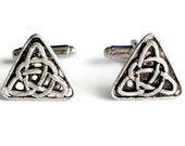 SALE Silver Triquetra Celtic Triangle Trinity Knot Cuff Links, Mens Handcrafted Earth Nature Symbol Cufflinks- Gift Prom Groom Wedding