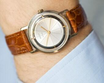 Minimalist men's watch Wostok, elegant gent's watch silver shade, shock resist men's watch, dress watch him, premium leather strap new