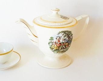 Vintage Tea Coffee Pot Large Teapot Gold Cream China Teapot Gold Green Transferware Scenic Transferware China Neoclassical Cottage China