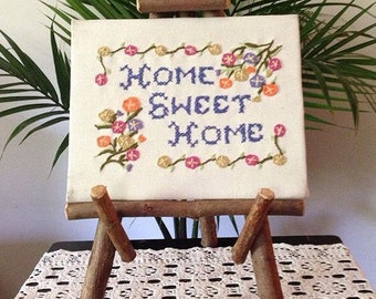 "Crewel ""Home Sweet Home"" Cross - Stitch / Embroidery 8x10"