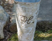 Birch Vase Personalized Flower Pot Pail Initial Monogramed and a Sweet Tiny Heart Bridesmaid Gift, Hostess Christmas Gift Bridal Shower