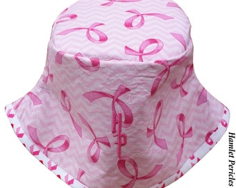 Pink Ribbon Breast Cancer Awareness | Pink Hat | Women's Hat | Chevron Bucket Hat by Hamlet Pericles | HP73015b
