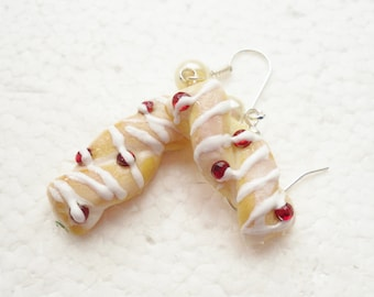Cherry Danish earrings. Polymer clay.