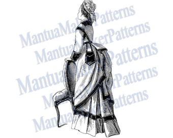 Victorian Dress Engraving w/ Draped Bustle, Instant Digital Download, JPG & PNG, 1875 #3