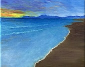 Sunset Beach, Impressionistic Oil Painting, Art Print, Wall Decor, Seascape, Sky