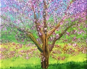 Impressionistic Landscape.  Original Handpainted Oil Painting. Tree, Flowers, Blooms size 6 x 6 canvas