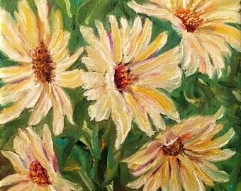Daisies, Original Hand Painted Oil Painting. Fine Art, Home Decor, size 6 x 6 canvas