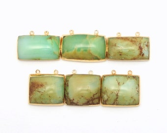Rectangle/Square Chrysoprase Pendant with Gold Electroplated Edge and Double Bail on Top   (S83B3-10)