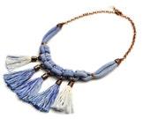 Blue Tassel Necklace, Boho Necklace, Rope Necklace, Macrame Necklace, Hand Dyed Necklace, Electric Blue, Indigo Necklace