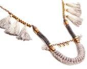 Hippie Statement Necklace, Rope Necklace, Tassel Necklace, Tribal Necklace, Folk Necklace
