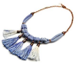 Blue Tassel Necklace, Boho Necklace, Rope Necklace, Macrame Necklace, Hand Dyed Necklace, Electric Blue, Indigo Necklace