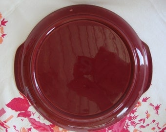 Serving plate maroon mid century California pottery Bauer Brusche handles handled tray platter
