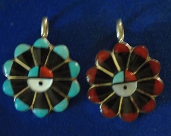 Cute Inlay Turquoise, Jet ,or Coral Jet Sterling Sun face Pendant