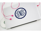 5 inch VINE Style Monogram Decal - Car Decal - Monogram Decal - Vinyl - Computer Decal - Notebook decal - Back to school labels