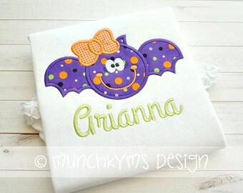 Bat with Bow Halloween Shirt  - Halloween Applique Shirt - Girl's Halloween Shirt - Holiday Designs - Monogrammed Shirt