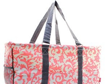 Monogrammed Coral Damask Utility Tote - TEACHER Bag - Carryall Tote -Car Organizer - Summer Tote