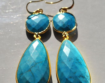 SALE Turquoise Earrings - Large Turquoise Earrings - Gold Turquoise Earrings - December Birthstone - Turquoise Jewelry