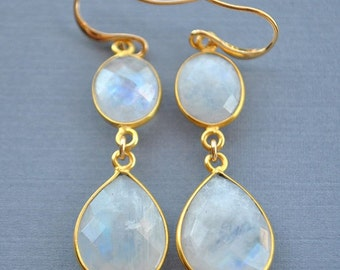 SALE Gold Rainbow Moonstone Earrings  - Rainbow Moonstone Jewelry - June Birthstone Jewelry - June Birthstone Earrings