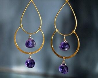 SALE Amethyst Gold Chandelier Earrings - February  Birthstone Earrings