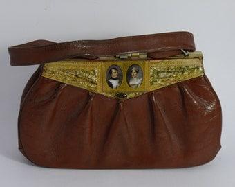 "Leather french vintage couture  brown  handbag NAPOLEON ET JOSEPHINE""unique piece  retro chic art bag steampunk bag french  touch"