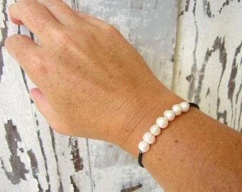Genuine White Freshwater Pearl Bracelet. Mini Pearl Cuff Bracelet. Slip on Pearl Bracelet. Freshwater Pearl Jewelry. Pearl Layering Bracelet