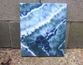Blue and Green Wall Decor, Tie-dyed Art, Hang or Frame