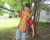 Tie-dyed Rayon Shirt for Groovy Guys, Wine Red with Green, Mustard, and Orange