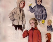 1960s SIMPLICITY 199 UNCUT FF Childrens Boys and Girls anorak and Jacket with Hoods Parka Vintage Paper Pattern  60s  Breast 24 Breast 30