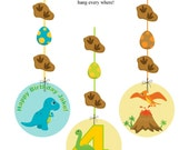 Dinosaur hanging decorations,dinosaur birthday, dinosaur decorations, dinosaur birthday decorations, PRINTABLE dinosaur decorations, dinos