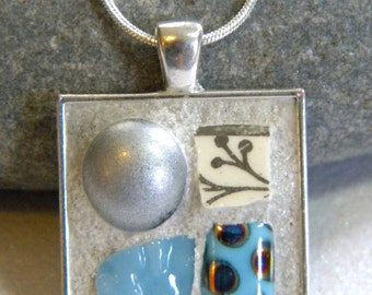 MOSAIC Pendant - Silver and Blue - Jewelry Necklace - Stained Glass - Beads
