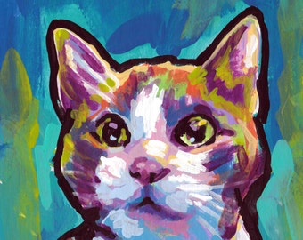 fun Cat portrait art print of bright colorful pop art painting 8x8  by LEA