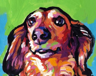 long haired Red Dachshund portrait art print of modern Dog pop art painting bright colors 12x12