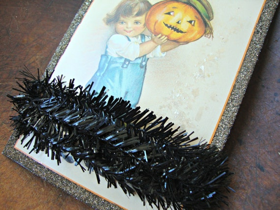Black sparkle wired feather tree tinsel garland from