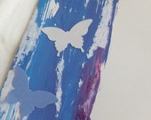 Blue Butterfly Cards, Set of 3, Hand Painted, Blank Inside