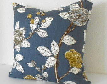 Navy and yellow peony floral decorative pillow cover, Dwell Studio pillow